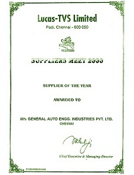 Lucas TVS Ltd  certficate honoured  techplaastic industrie P Ltd as best supplier of injection moulding products  in 2000