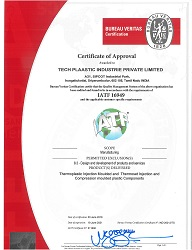 Bureau Veritas Certification awarded to Techplaastic -top Injection moulding Company certifying the quality of standard for Thermoset, Thermoplastic & compression moulding Components meeting the quality  standard IATF 16949