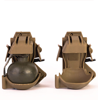 Light brown colour  grenade Trigger pouch manufactured by Techplaastic best injection moulding company in India