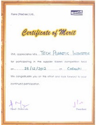 Kaizen Certificate of merit awarded by Rane to Tech plaastic industrie Pvt Ltd -best injection moulding company