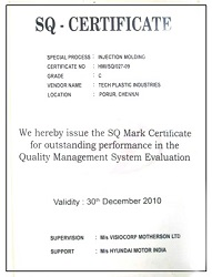 SQ mark Certification awarded to Techplaastic industrie Pvt Ltd -top injection molding company  in India   for outstanding quality management system