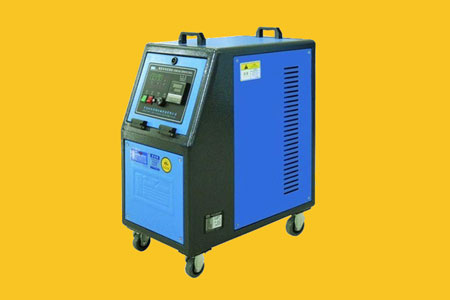 Light blue & black colour Temperature controller with rolling wheels manufactured by TPI-best thermoset injection moulding company