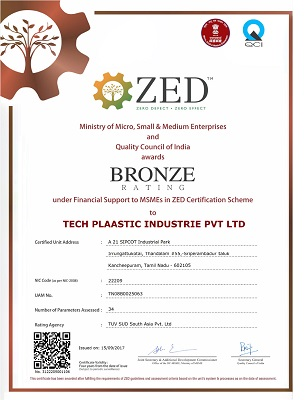 The bronze rating awarded by ZED to Techplaastic Industrie Pvt Ltd - the best Injection moulding company in India