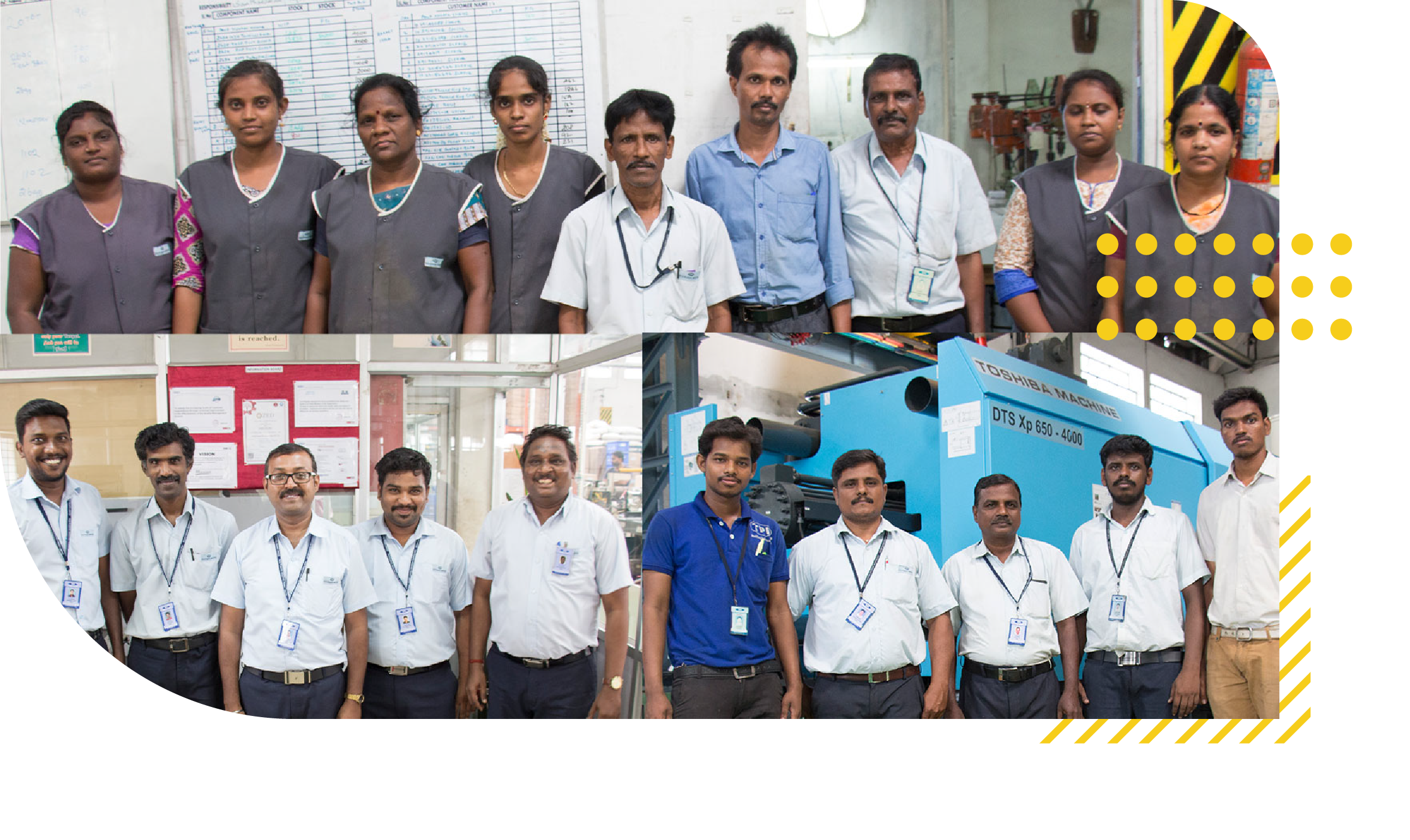 Group photo of staffs working in Techplaastic Industrie pvt Ltd -Best plastic molding manufacturing company in India displayed in Two rows