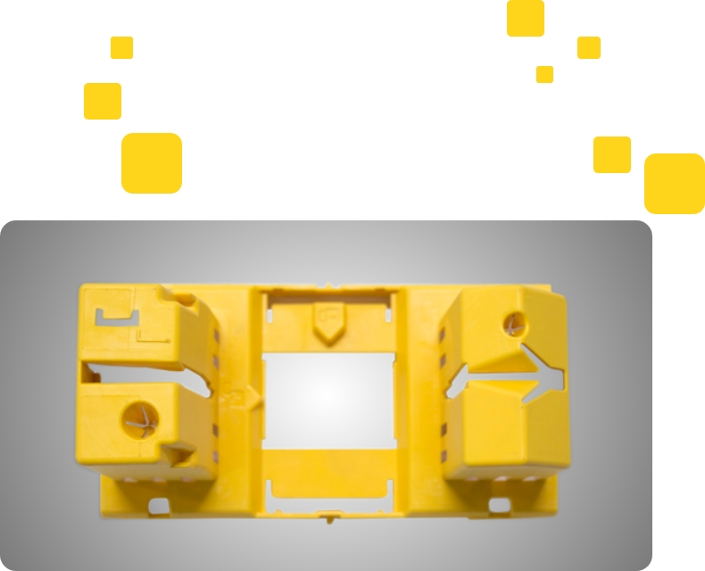 An entire yellow colour injection molding components  displayed in white & grey back ground