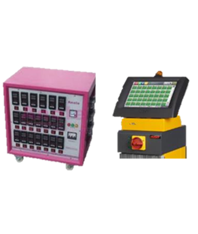 An injection molding machine supplemental component  pink colour  hot runner unit  with monitor displayed