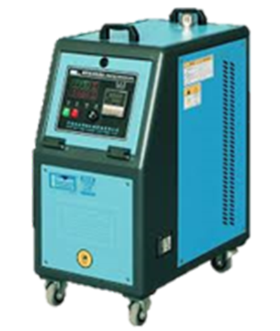 An Injection moulding machine supplemental black & green colour  temperature controller component